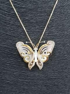 🚚 Butterfly Diamond and Pearl Pendant with 18K Yellow Gold Chain