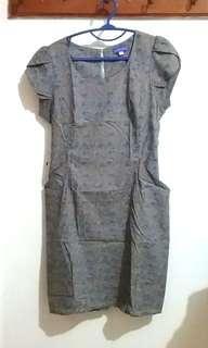 Midi Sheath Dress Floral Print Dusty Warm Grey Blue Orange (Rok Sack Shift Bunga Motif Abu Biru Oranye Oren)