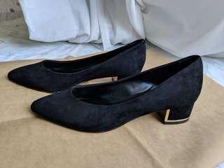 Charles & Keith Suede Black Heels with Gold Trim