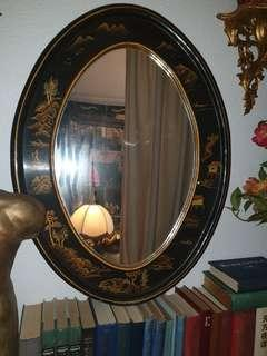 Chinoiserie wood lacquer mirror