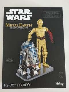 Brand new and unopened Star Wars Metal Earth 3D Metal Model Kits - R2D2 & C-3PO Box Set