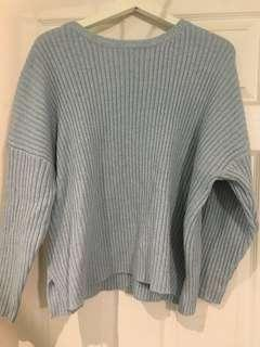 Baby Blue Ribbed Oversized Knit Sweater