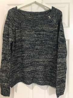 Navy Blue and White Knit with Zipper Detail