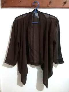 Cropped Cardigan Outer Chiffon Polyester Earthy Brown Sheer (Kardigan Bolero Luaran Coklat Siffon Poliester)