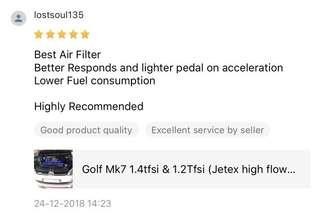 #jetexfilters_vw. #jetexfiltersasialink. Golf Mk7 in the house to upgrade Jetex Racing Performance drop in air filter with 1.14 kpa flow rate washable & reusable air filter .