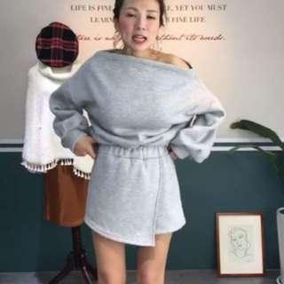 全新厚棉一字領套裝褲裙