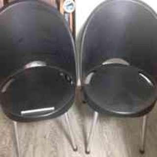 Chairs- black -4 pieces circular/round base Chairs -
