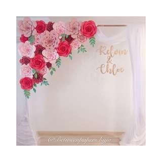 Paper flower backdrop for wedding