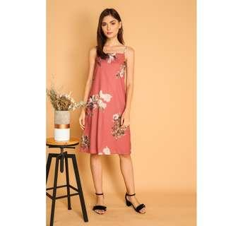 🚚 BN TSW Roselyn Floral Slip On Dress in Coral Pink