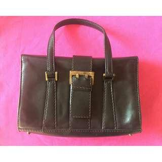 KAREN MILLEN Brown Genuine Authentic Leather Mini Tote Handbag Made In Italy