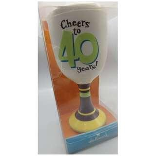 "{HK-藏珍舖} Hallmark ""Cheers to 40 years!"" 陶瓷杯 7"""