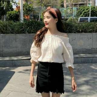 Ulzzang Cream Off Shoulder Top