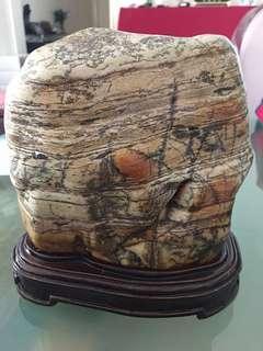花岩石擺設18cmX18cm