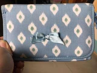 泰國Narava 藍白色 化妝袋 收納袋 蝴蝶袋 blue white cosmetics bag