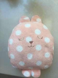 Polka dot rabbit hand warmer soft toy cushion