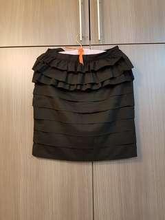 A -line Black Ruffle Skirt