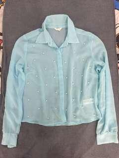 Forever21 Light Blue with Pearl Long Sleeved Top