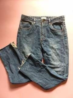 Ripped bottom jeans celana jeans