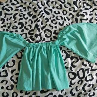 Turquoise Off Shoulder Top