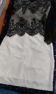 NEW! WHITE DRESS WITH LACE SLEEVES