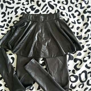 black leather skirt and tights