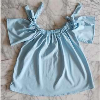 🚚 Light Blue Bow Tie Knot Fluttery Ruched Off Shoulder Top