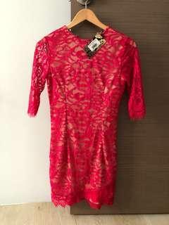 Zalora Red Lace Bodycon Dress