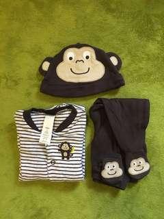 🚚 [Babe。衣料]Carter's 小猴子三件組