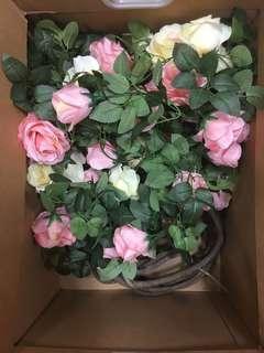 仿真花藤條 玫瑰