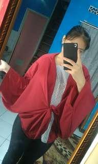 Baju atasan kimono maroon