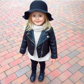 🚚 Toddler Kids Winter Leather Biker Jacket