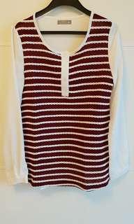 🚚 立體麻花織紋拼雪紡上衣 紅色