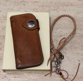 LTHRKRFT LONG COIN WALLET WITH CHAIN (NATURAL TAN)