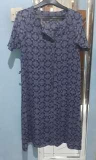 Dress Biru Ungu Motif