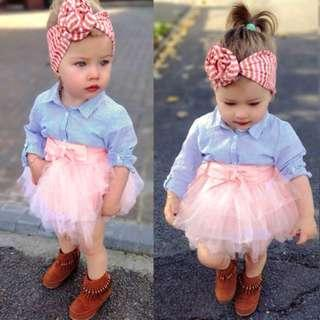 🚚 Baby Girl Striped Top + Tutu Skirt