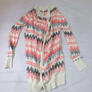 Aeropostale Zigzag and Striped Long Cardigan