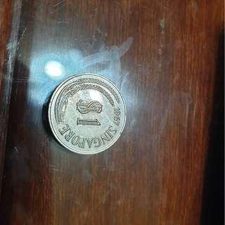 Old Singapore 1 dollar coin (1967 to 1972) - No year 1970 coin