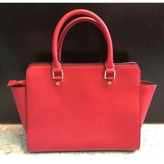Michael Kors Selma Saffiano Leather Medium Satchel Bag Ladies (Pre-Loved) Red