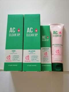 BN Etude House AC Clean Up Toner, Gel Lotion, After Balm, Pink Powder Mask