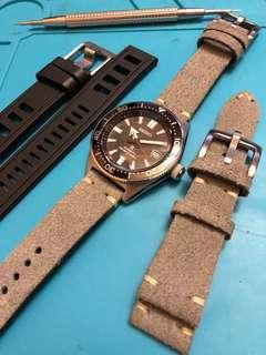 (sold) Calf suede leather strap in Grey
