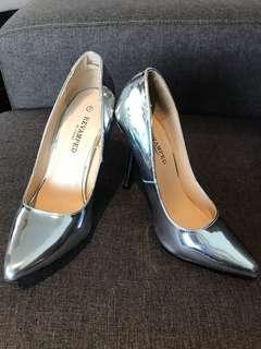 Revamped by Sirens silver pumps