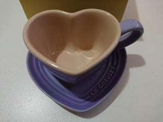 Le Creuset pastel purple heart mug & tray