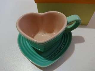 Le Creuset cool mint heart mug & tray