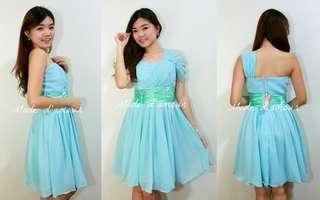 Chiffon dinner dress (light blue)