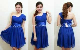 Chiffon dinner dress (dark blue)