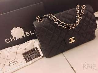 100% Authentic Chanel Black Caviar With Gold