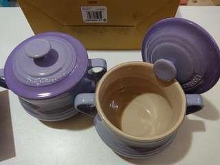 Le Creuset pastal purple soup pot set of 2