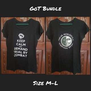 Game of Thrones fan shirts bundle