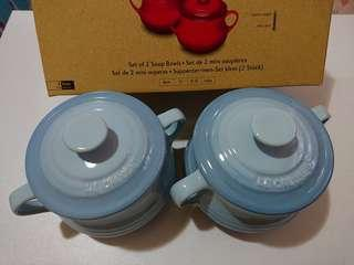 Le Creuset coastal blue soup pot set of 2 湯盅