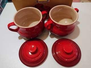 Le Creuset cerise soup pot set of 2 湯盅